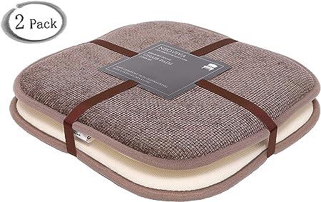 40,6 x 40,6 cm con Schienale Antiscivolo Marrone Neoviva Comodi Cuscini Quadrati e arrotondati Confezione da 2 Cuscini in Memory Foam a Nido dApe per sedie da Pranzo