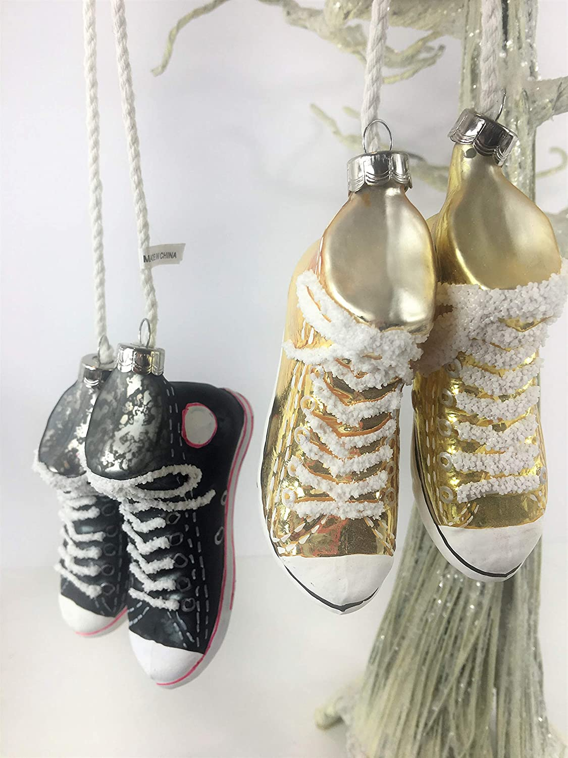 Foster Christmas High Top Chuck Sneaker Pair Black or Gold Shoes Hanging Ornaments Glass Glitter Stocking Stuffer Black