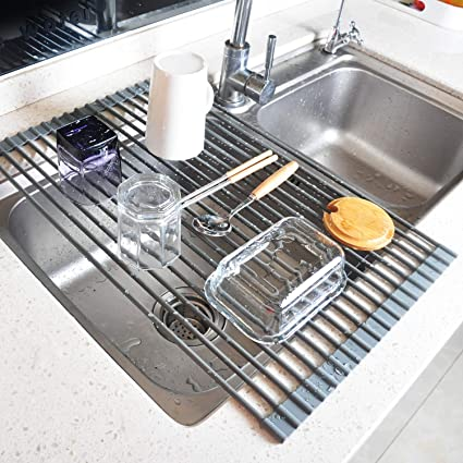 Kitchen Sink Drying Rack.Roll Up Dish Drying Rack Foldable Over The Sink Drying Rack Large 20 5 X13 2 Multipurpose Kitchen Sink Drainer Silicone Stainless Steel By