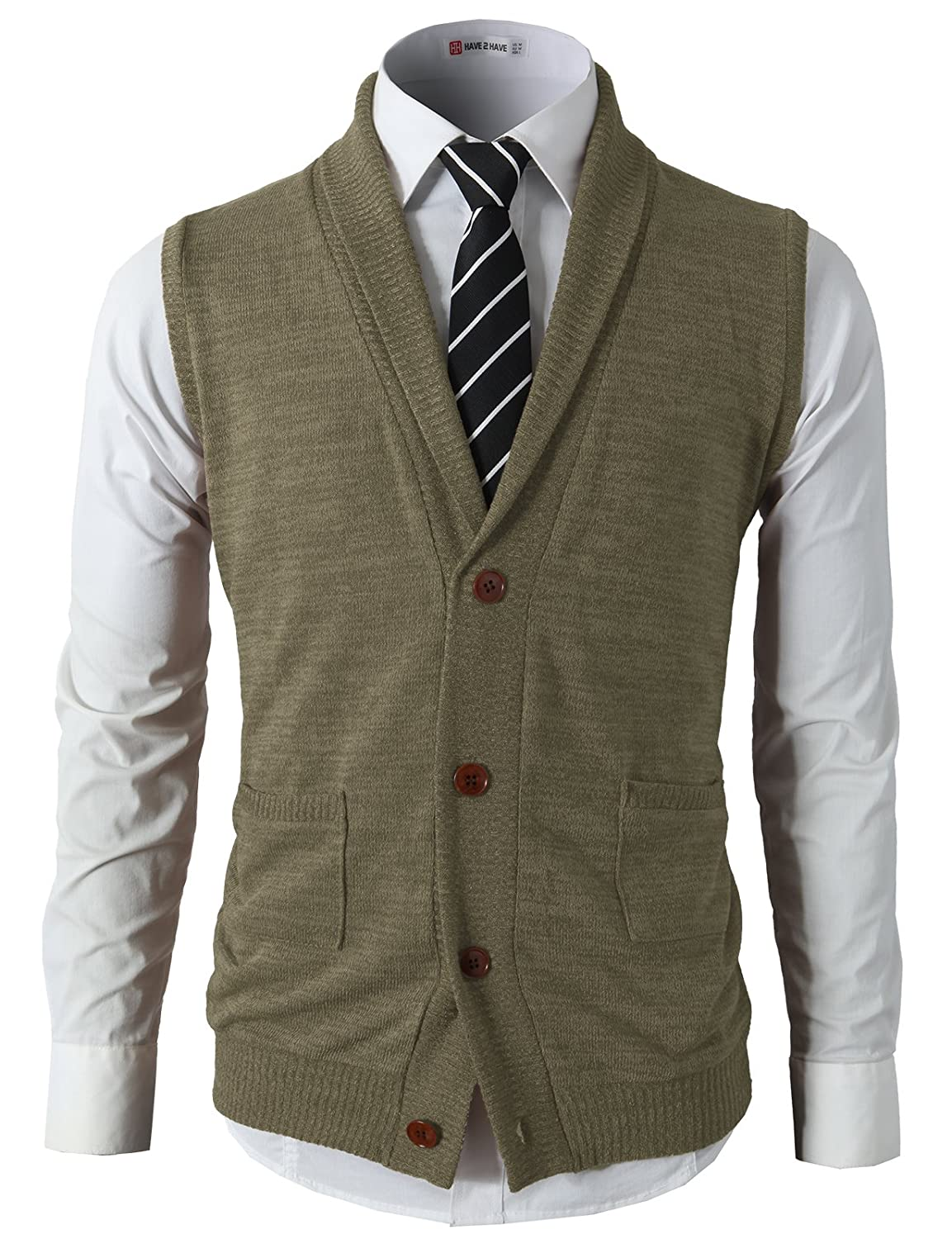 H2H Mens Casual Slim Fit Kniited Sweater Vests V-Neck Button-Down Shawl Collar with Pockets