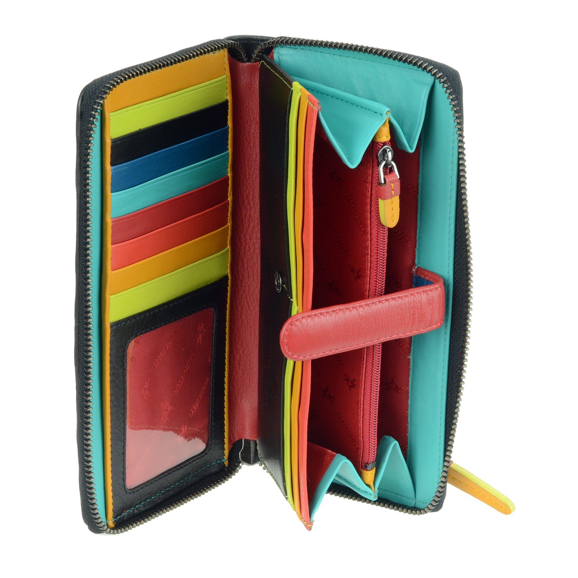 Visconti STR5 Women's Secure RFID Blocking Large Leather Bifold Zip-Around Clutch Wallet Purse