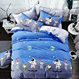 BOMBAY TWILLS Super Heavy Glace Cotton Cartoon Print 260 TC Bedsheet for Kids Single Bed Bedsheet for Children Room Single Bed with 1 Pillow Cover