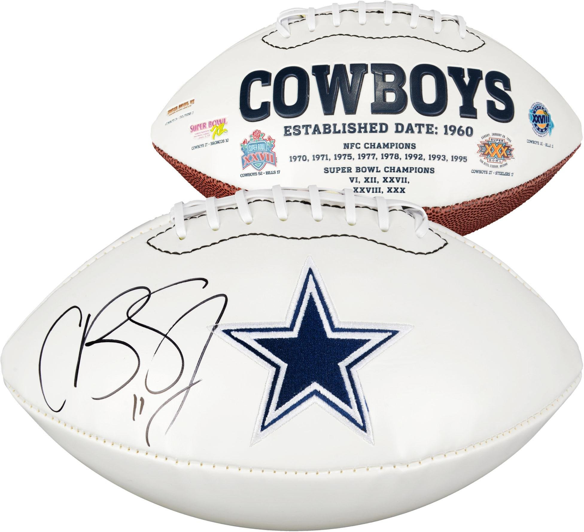 Cole Beasley Dallas Cowboys Autographed White Panel Football Fanatics Authentic Certified Autographed Footballs