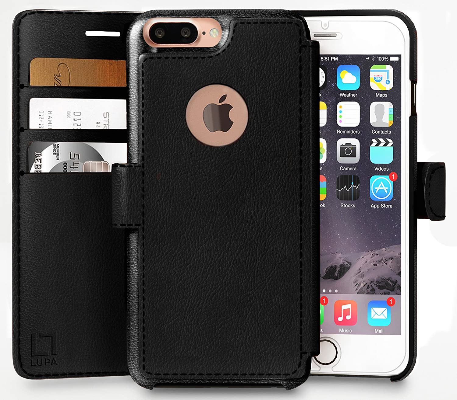 LUPA Wallet case for iPhone 7 Plus, Durable and Slim, Lightweight, Magnetic Closure, Faux Leather, Black