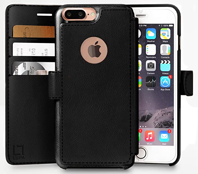 new product 7c6e3 1156e LUPA Wallet case for iPhone 7 Plus, Durable and Slim, Lightweight, Magnetic  Closure, Faux Leather, Black