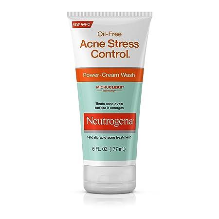 Neutrogena Oil-Free Acne Stress Control Power-Cream Face Wash, Salicylic Acid Acne Treatment for Acne-Prone Skin, 6 fl. Oz Pack of 3