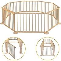 Parque para bebé – de madera – Plegable – Parque móvil – Valla para niños XXL – Escuela para jardín - Barrera de barrera…