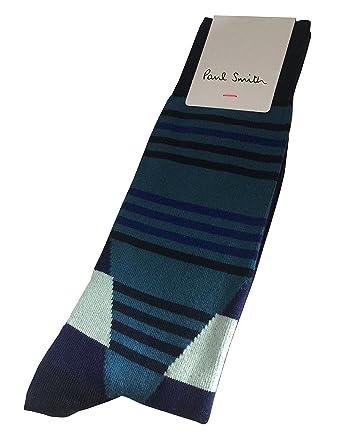 bfbaa766c7 PAUL SMITH Mens Cotton Socks Blue Black Teal Stripes One Size:  Amazon.co.uk: Clothing