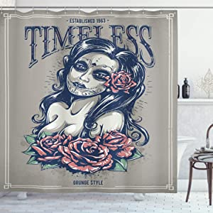 Ambesonne Skull Shower Curtain, Day of The Dead Girl with Tattoos Roses Lady Witch Woman Sign Art Print, Cloth Fabric Bathroom Decor Set with Hooks, 70