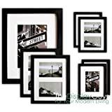 The Display Guys~ 7 Piece Matte Black Solid Pine Wood Photo Frame Set, One 16x20 Inch, Two 11x14 Inch, Four 8x10 Inch, With White Core Mat Boards And Picture Collage Mat Boards, Luxury Made Affordable