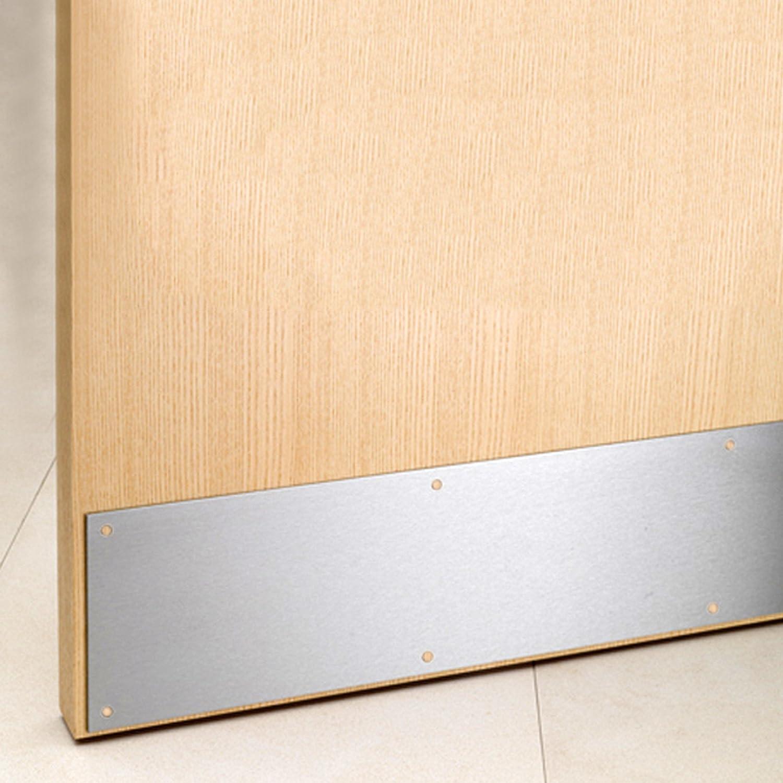 2x Satin Aluminium Kick Plates 32' x 6' Bottom Door Protection White Hinge