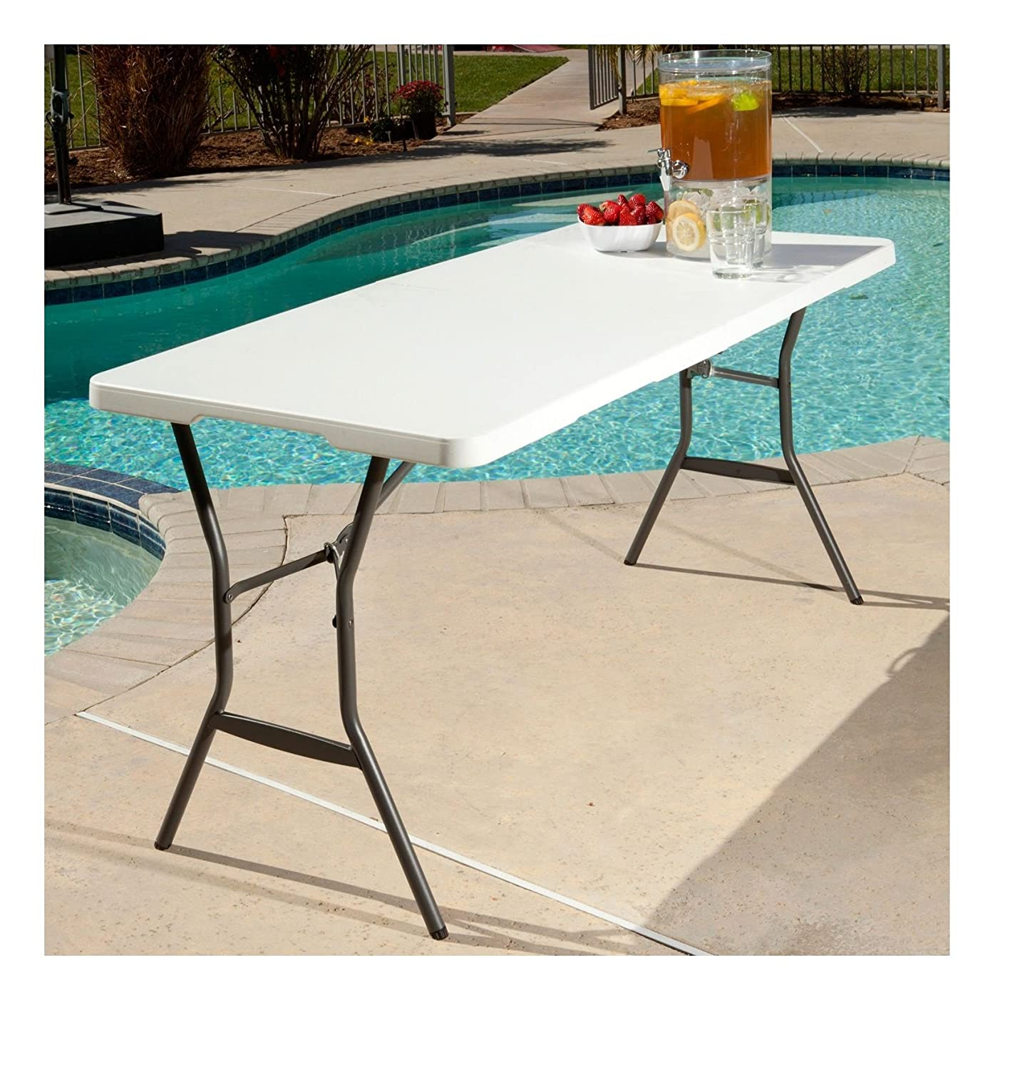 Amazon Lifetime 5 Foot Light Commercial Fold In Half Table