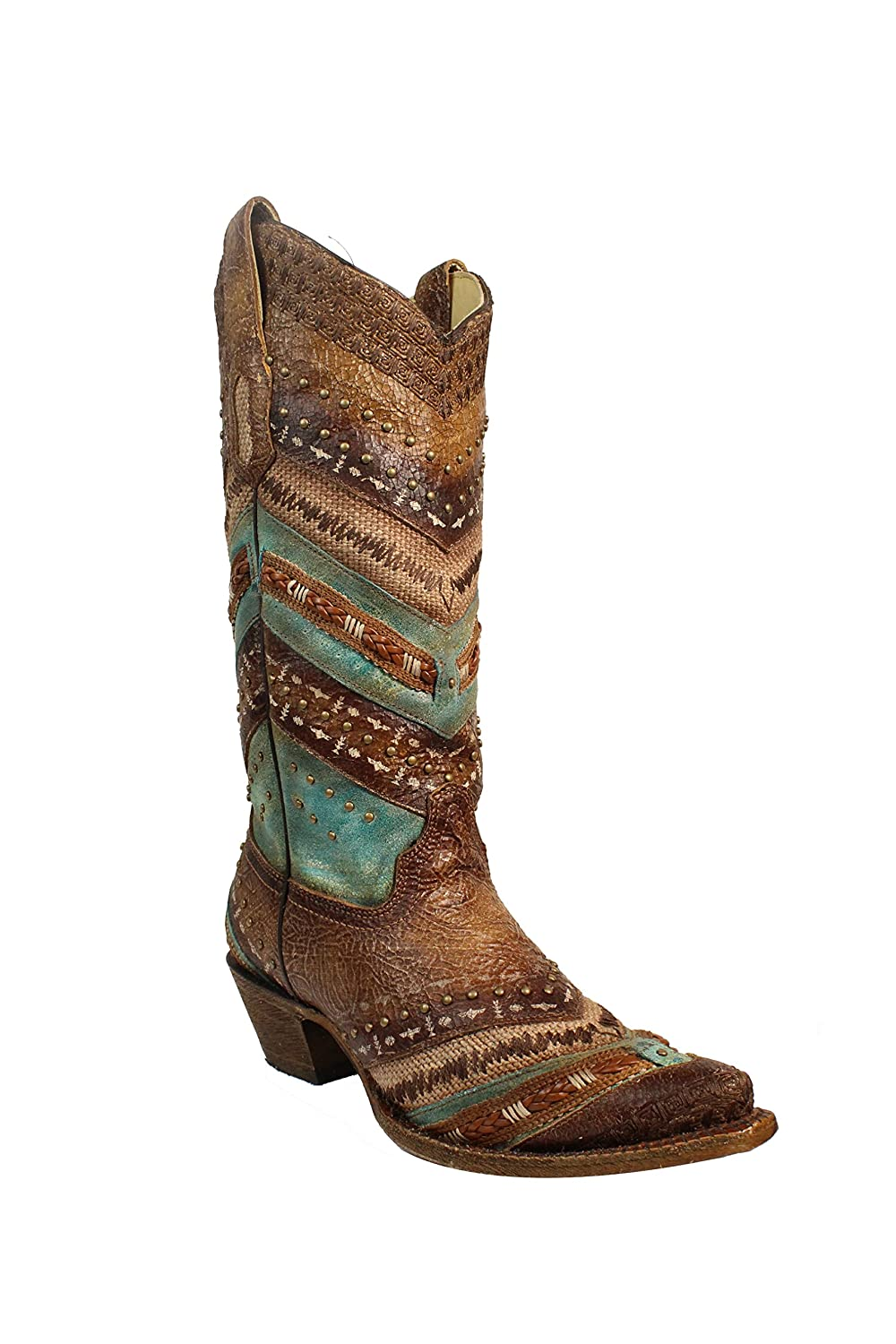 Corral Women's 13-inch Turquoise/Brown Embroidery & Studs Snip Toe Cowboy Boots B06XB1Q2XB 7.5 B(M) US|Brown