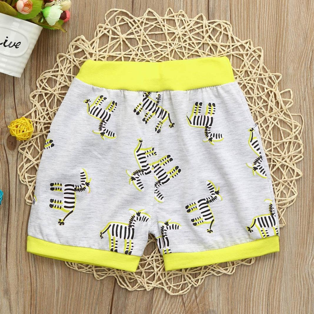 Ankola Children Summer Cartoon Zebra Print Shorts Toddler Kid Baby Boys Summer Casual Cotton Blend Shorts Pants with Pockets (Yellow, 6M) by Ankola (Image #3)
