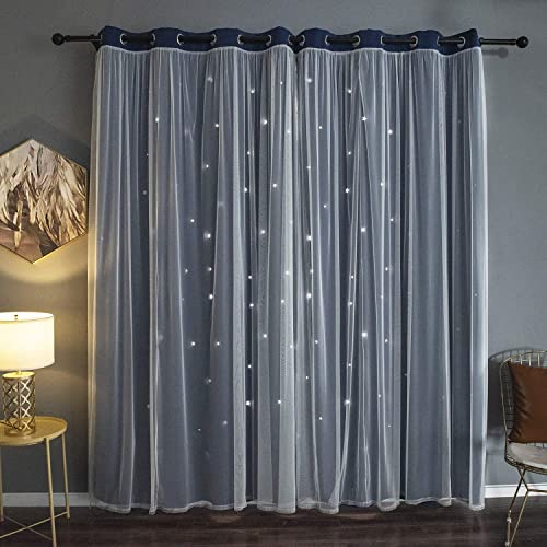 Kinryb Navy Gradient Voile Overlay Star Cut-Out Curtains