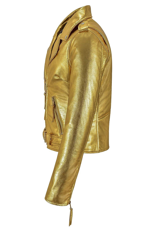 Ladies Biker Metallic Leather Jacket Biker Style Leather Jacket Made of 100/% Real Lambskin MBF