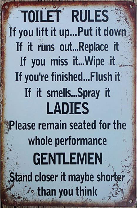 Metal Sign Shabby chic retro style toilet Rules bathroom A4 tin wall door plaque