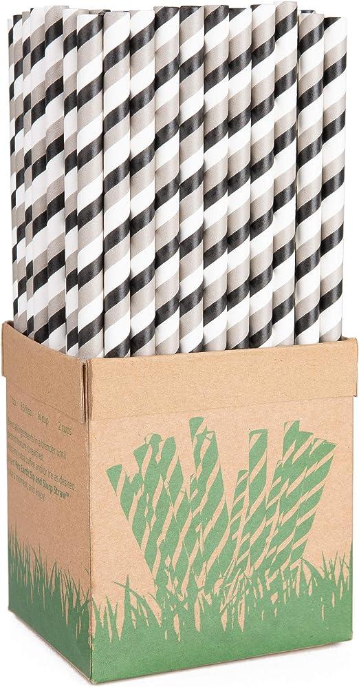 Pajitas de papel Pro Earth Sip and Slurp de 8 mm de ancho, paquete ...
