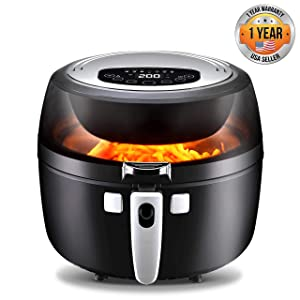 NutriChef Digital Air Fryer 6.8 Qt XXL - 1350 Watt Power Electric Oilless Kitchen Hot Air Frying Convection Multi Cooker, Non Stick Fry Basket - Digital Cooking Time Setting options, Black- PKAIRFR75