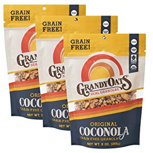 GrandyOats Original Coconola Gluten Free Granola - Certified Organic, Non-GMO, Grain Free, Paleo Friendly, Low Carb and Low Sugar, 9oz Bags, Bulk Pack of 3