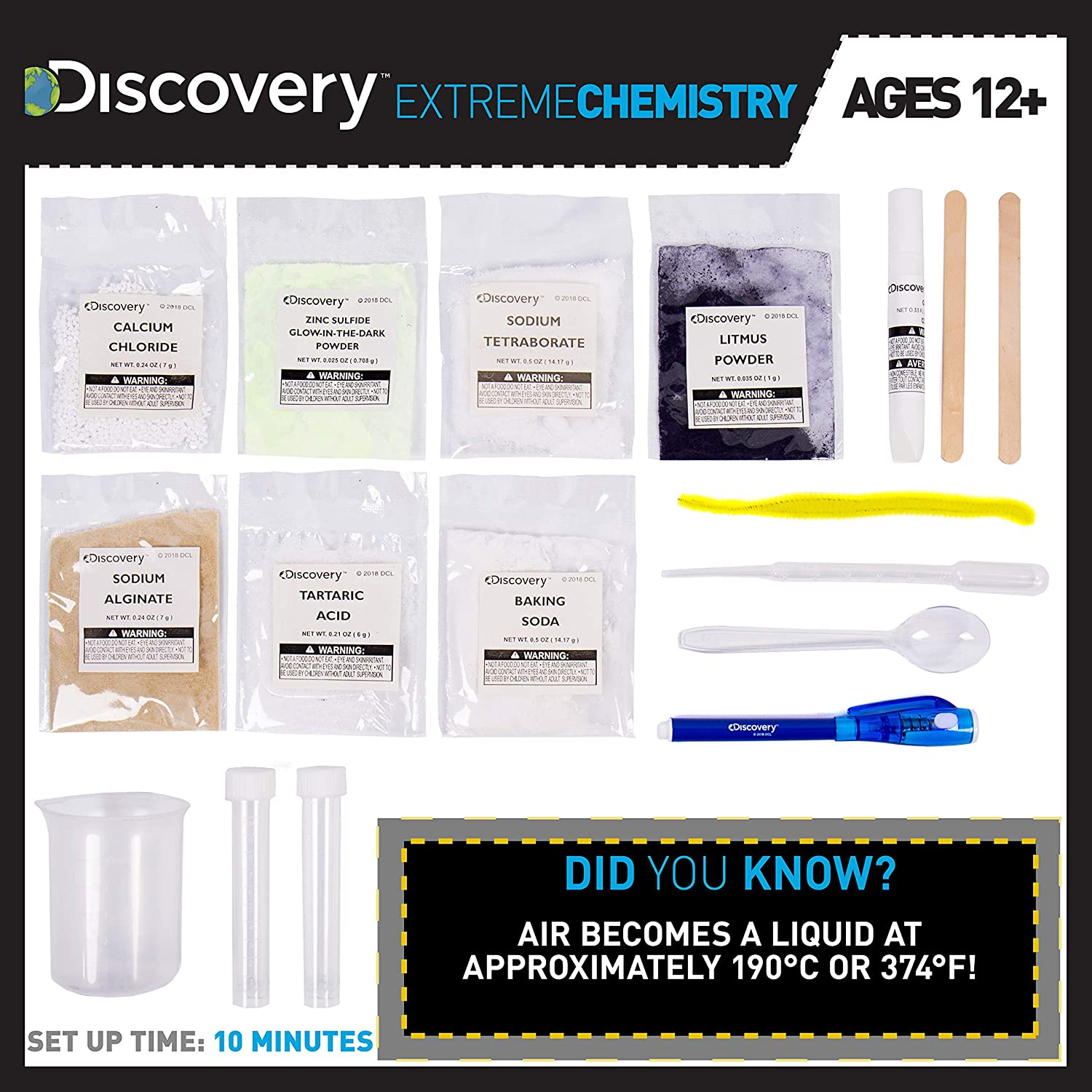 Discovery Extreme Chemistry Stem Science Kit by Horizon Group Usa, 40 Fun  Experiments, Make Your Own Crystals, DIY Glowing Slime, Fizzy Eruptions,