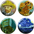 """Buttonsmith Vincent Van Gogh Impressionist Art 1.25"""" Refrigerator Magnet Set Featuring Starry Night and Sunflowers - Made in the USA"""