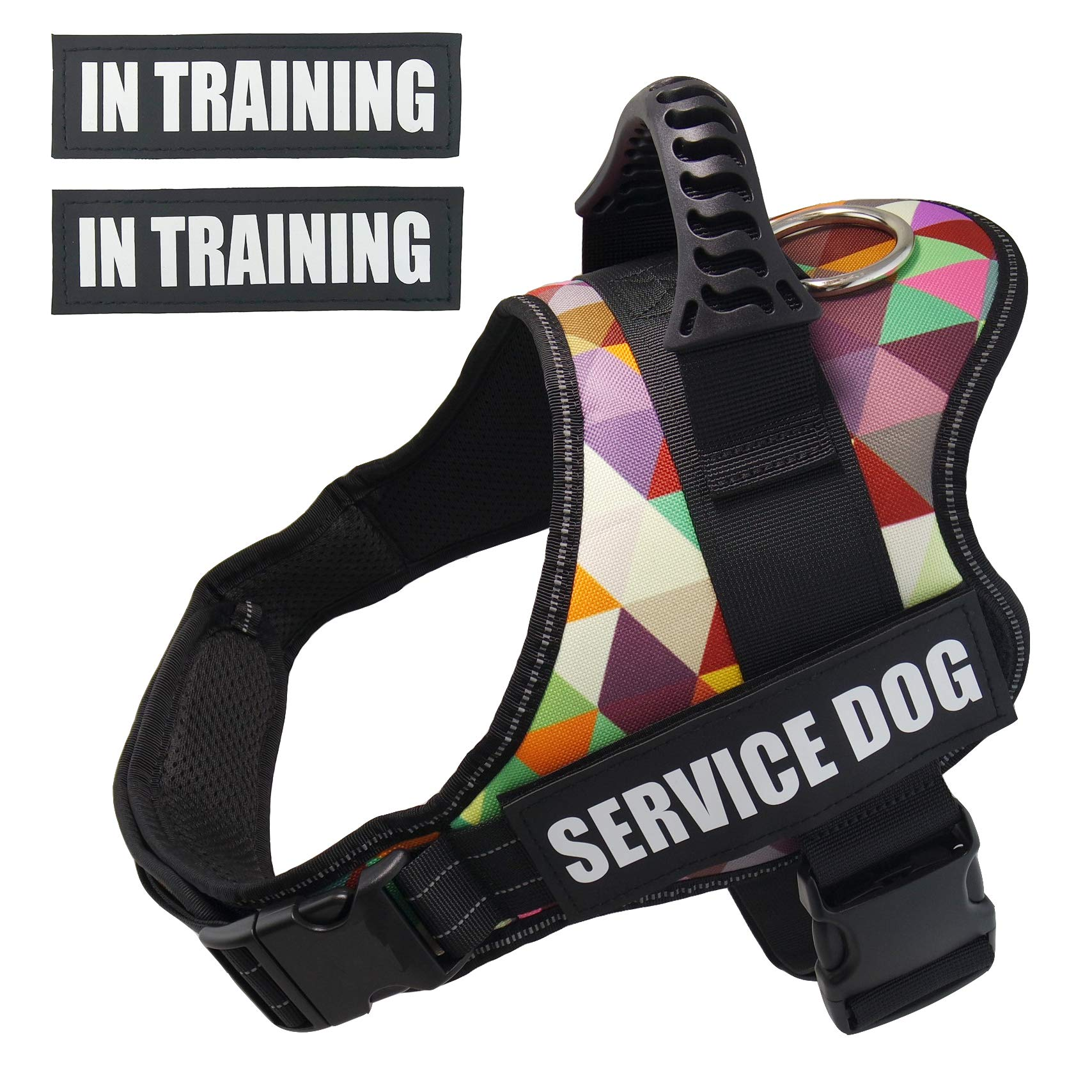 Dihapet Service Dog Vest, No-Pull Reflective Dog Harness for Small Medium Large Dogs, Adjustable Dog Training Walking Harnesses Safety Vest, L