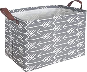 HIYAGON Rectangular Laundry Baskets,Fabric Storage Bin Storage Boxes,Collapsible Storage Basket for Toy, Clothes,Books.Shelves Basket(Grey Arrows)