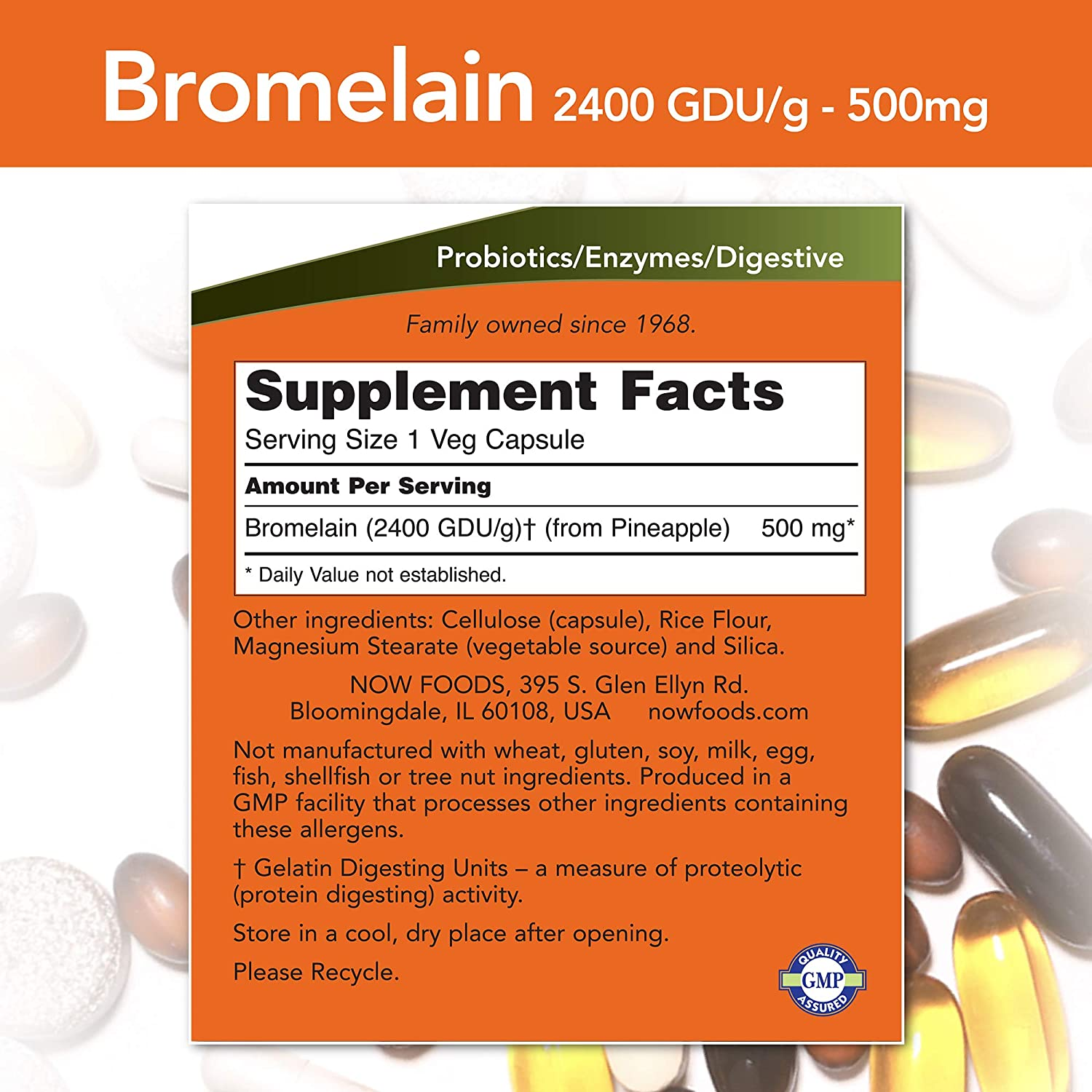 NOW Supplements, Bromelain (Natural Proteolytic Enzyme) 2,400 GDU/g - 500 mg, Natural Proteolytic Enzyme*, 120 Veg Capsules: Health & Personal Care