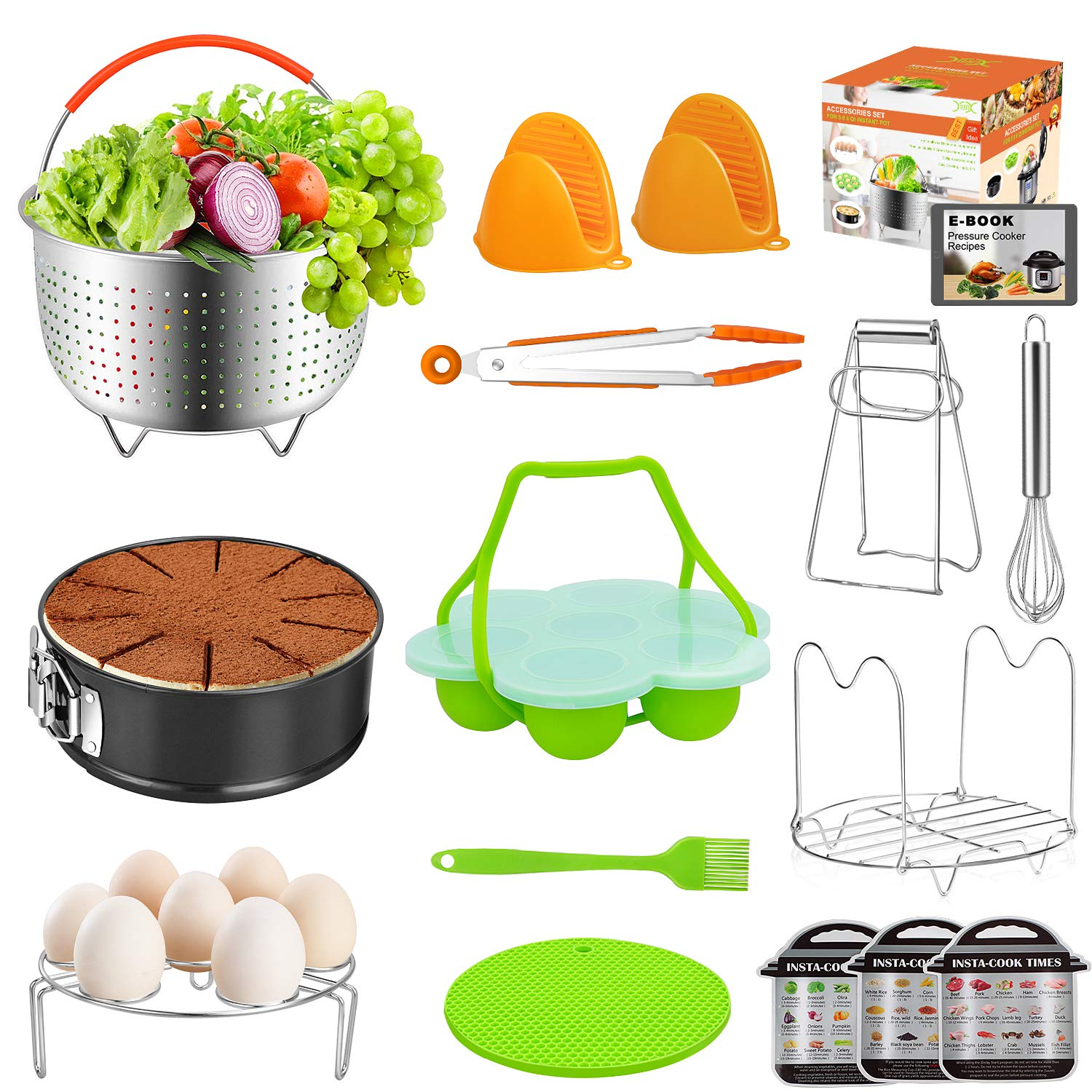 Instant Pot Accessories 15-pc Set Cooking Utensils for Pressure Cooker 5,6,8 Qt, Includes Steamer Basket, Springform Pan, Silicone Egg Bites Mold, Mitts,Tongs, Magnetic Cheat Sheets(BONUS RECIPES)