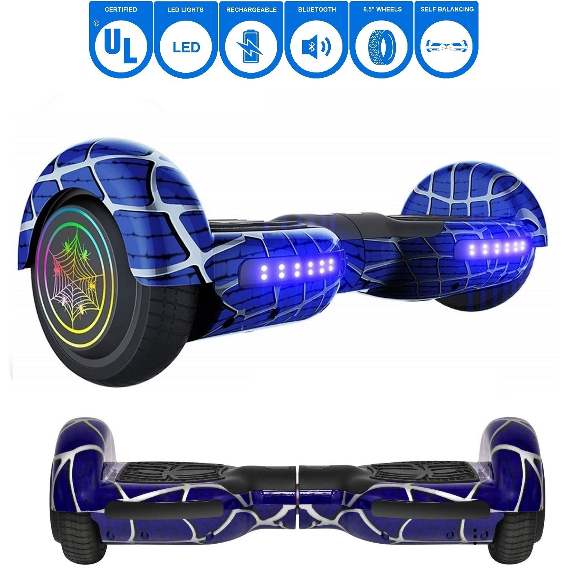 NHT 6.5'' inch Aurora Hoverboard Self Balancing Scooter with Colorful LED Wheels and Lights - UL2272 Certified Carbon Fiber/Spider/Built-in Bluetooth Speaker Available (Spider Blue)