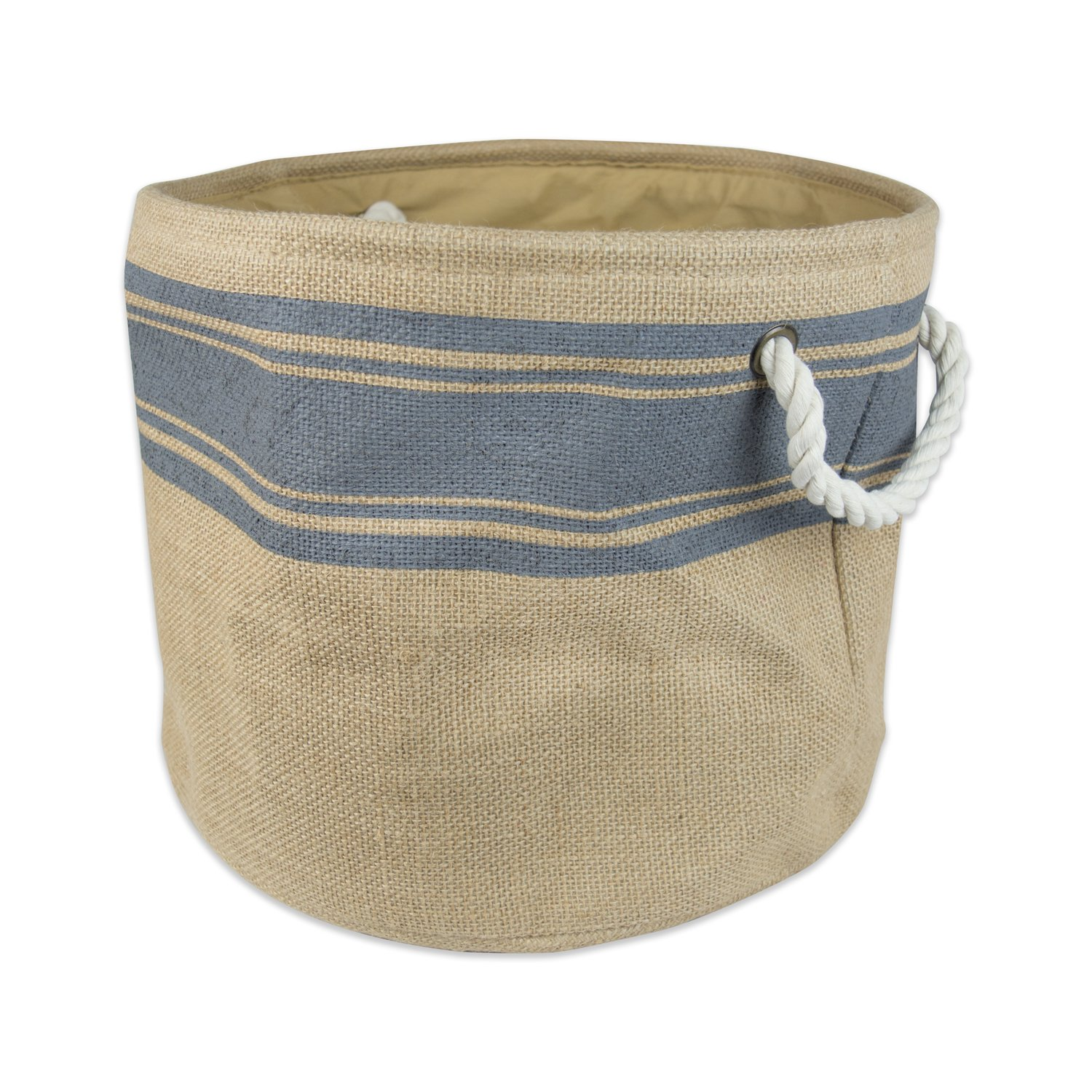 "DII Collapsible Burlap Storage Basket or Bin with Durable Cotton Handles, Home Organizational Solution for Office, Bedroom, Closet, Toys, Laundry (Large Round – 16x15""), Grey Border"