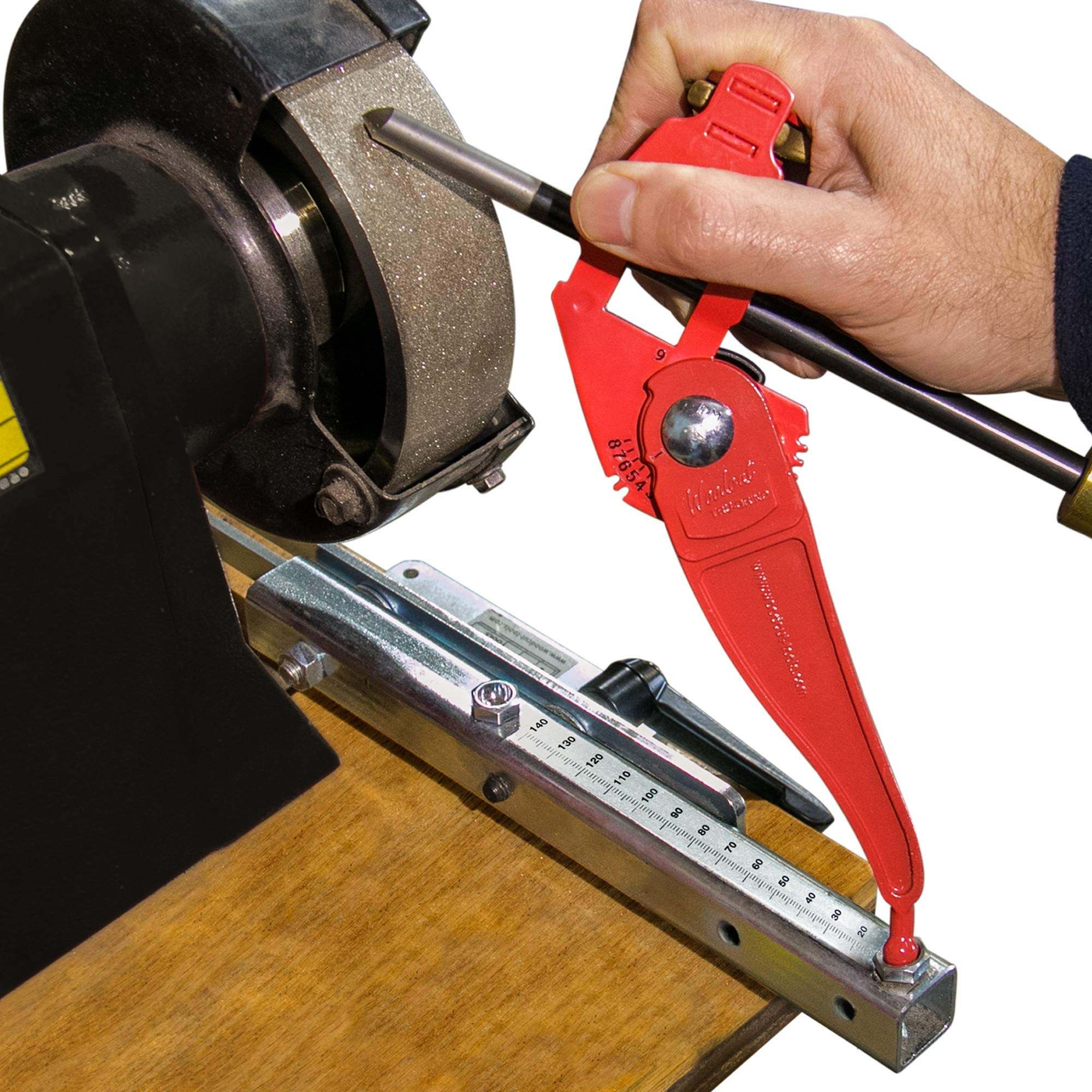 Tru-Grind Turning Tool Sharpener is an Easy, Repeatable, Precise Jig and base for Woodturning Tools including Gouges, Scrapers, Parting Tools, Skew Chisels, Carving, Carpenters, Lathe and Drills bits by Woodcut Tools