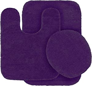 Linen Plus 3pc Solid Non Slip Bath Rug Set for Bathroom U-Shaped Contour Rug, Mat and Toilet Lid Cover New # Mary (Dark Purple)