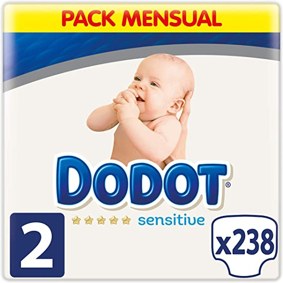 foto Dodot Sensitive Pañales para Bebé, Talla 2 (4-8 kg), 238 Pañales
