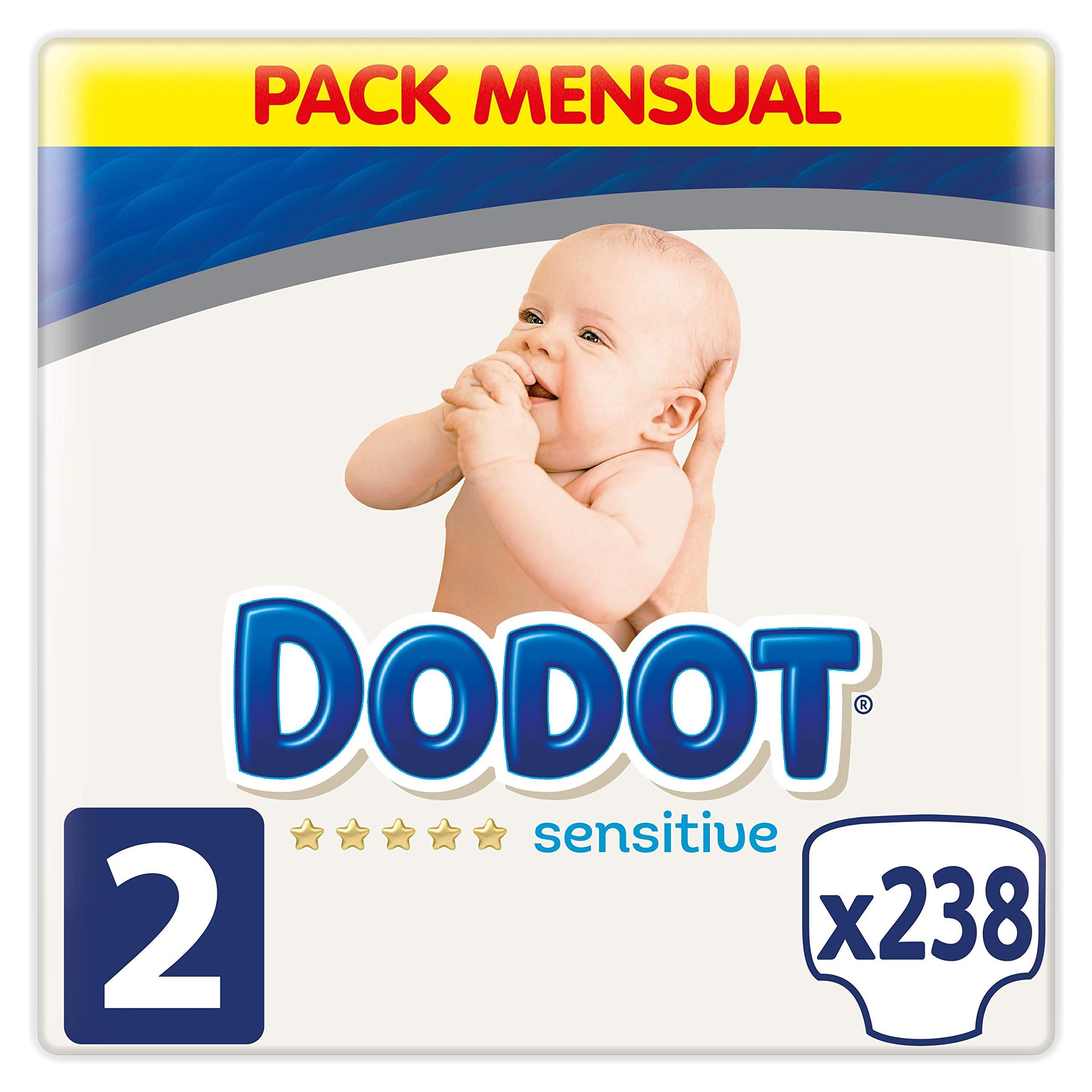 Dodot Sensitive - Pañales, Talla 2 (4-8 kg), 238 pañales