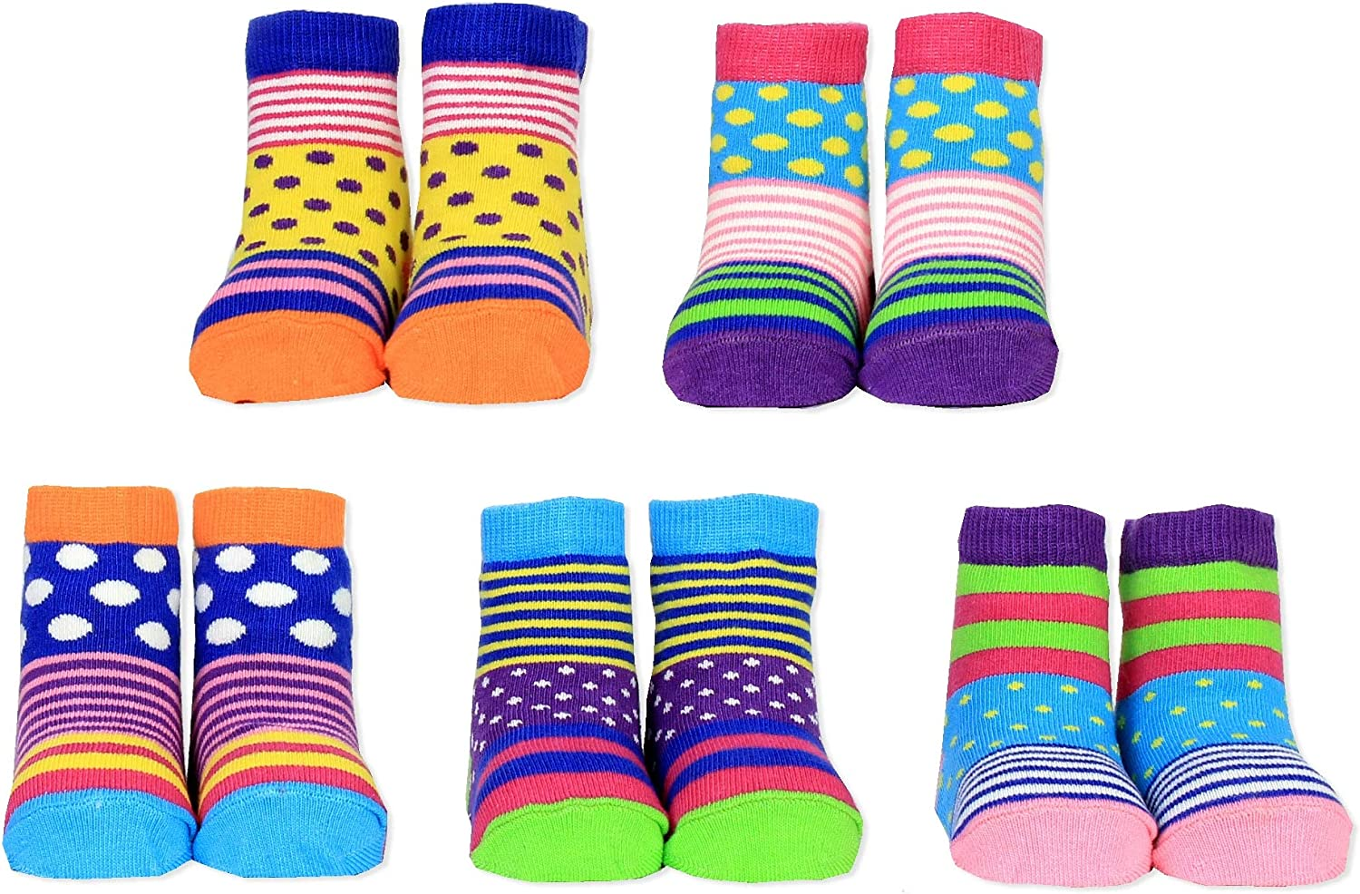 Cucamelon Polka Tots Dots Stripey 5 Pairs of Socks 1-2 Years Toddler Gift Boxed