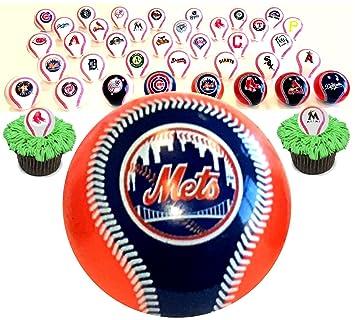 Amazoncom 36 Mini Logo Balls Cupcake Toppers Major League Baseball