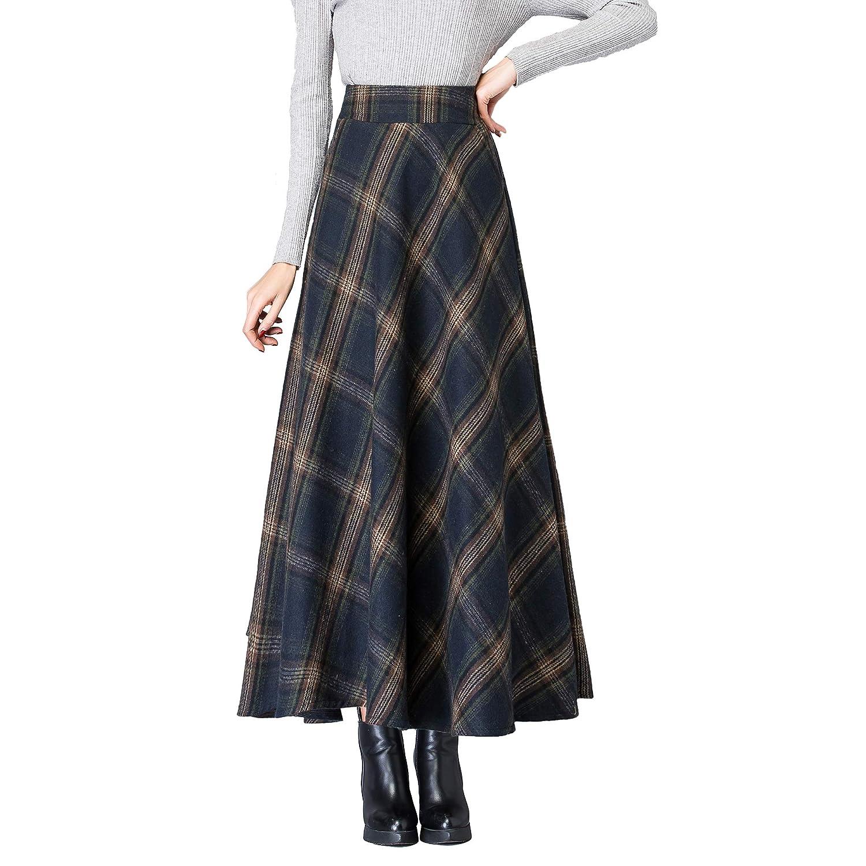 Qz122 Navy Nantersan Women's Winter Warm Flare Long Plaid Skirt Hairy High Elastic Waist Maxi Skirt Aline Plaid Skirts