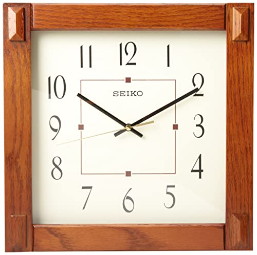 Seiko 13 Square Medium Brown Wood Wall Clock