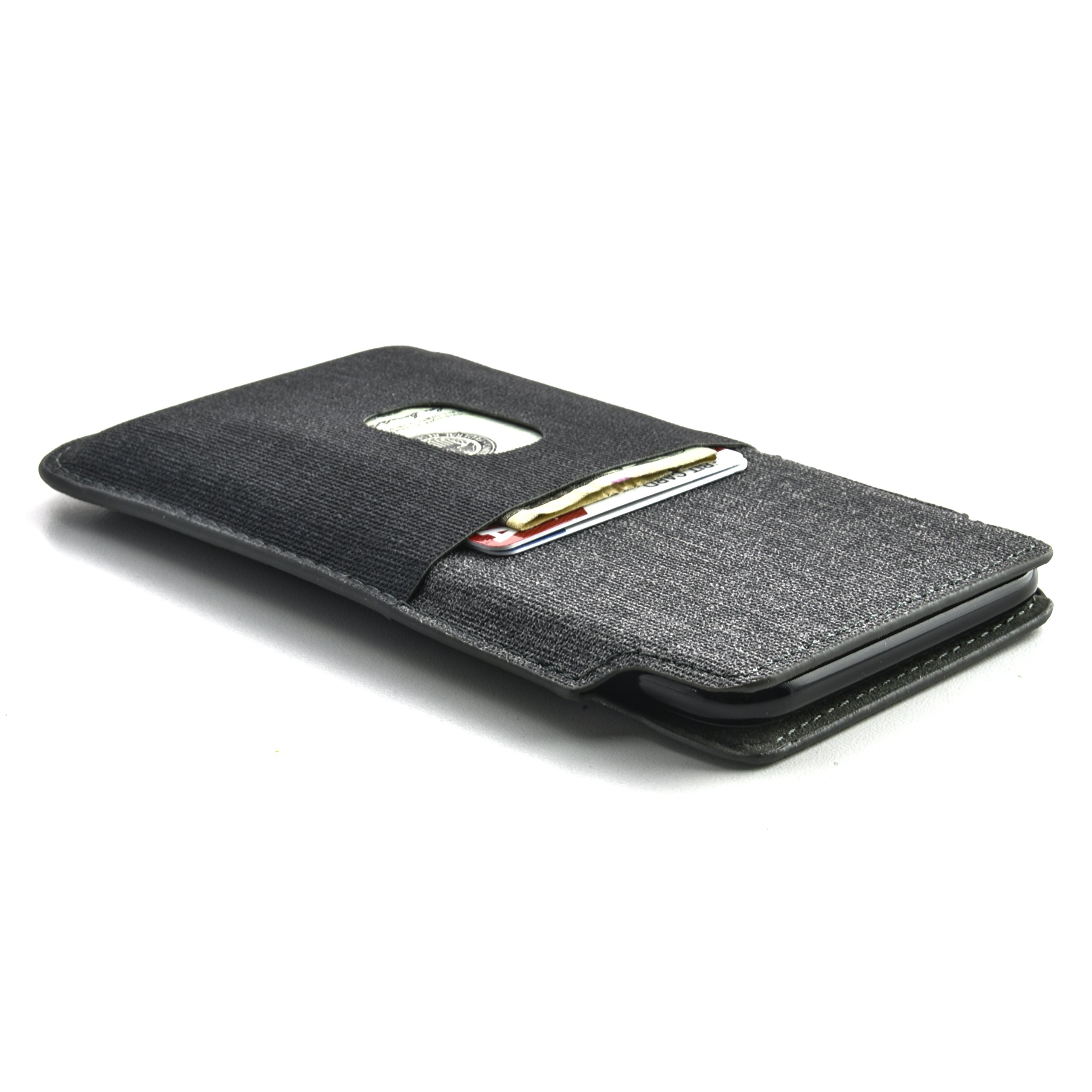 Dockem Luxe Wallet Sleeve for iPhone X; Synthetic Leather Card Case in Twill Canvas Style; Ultra Slim Professional Executive Pouch Cover with 2 Card Holder Slots, iPhone X, Black and Grey