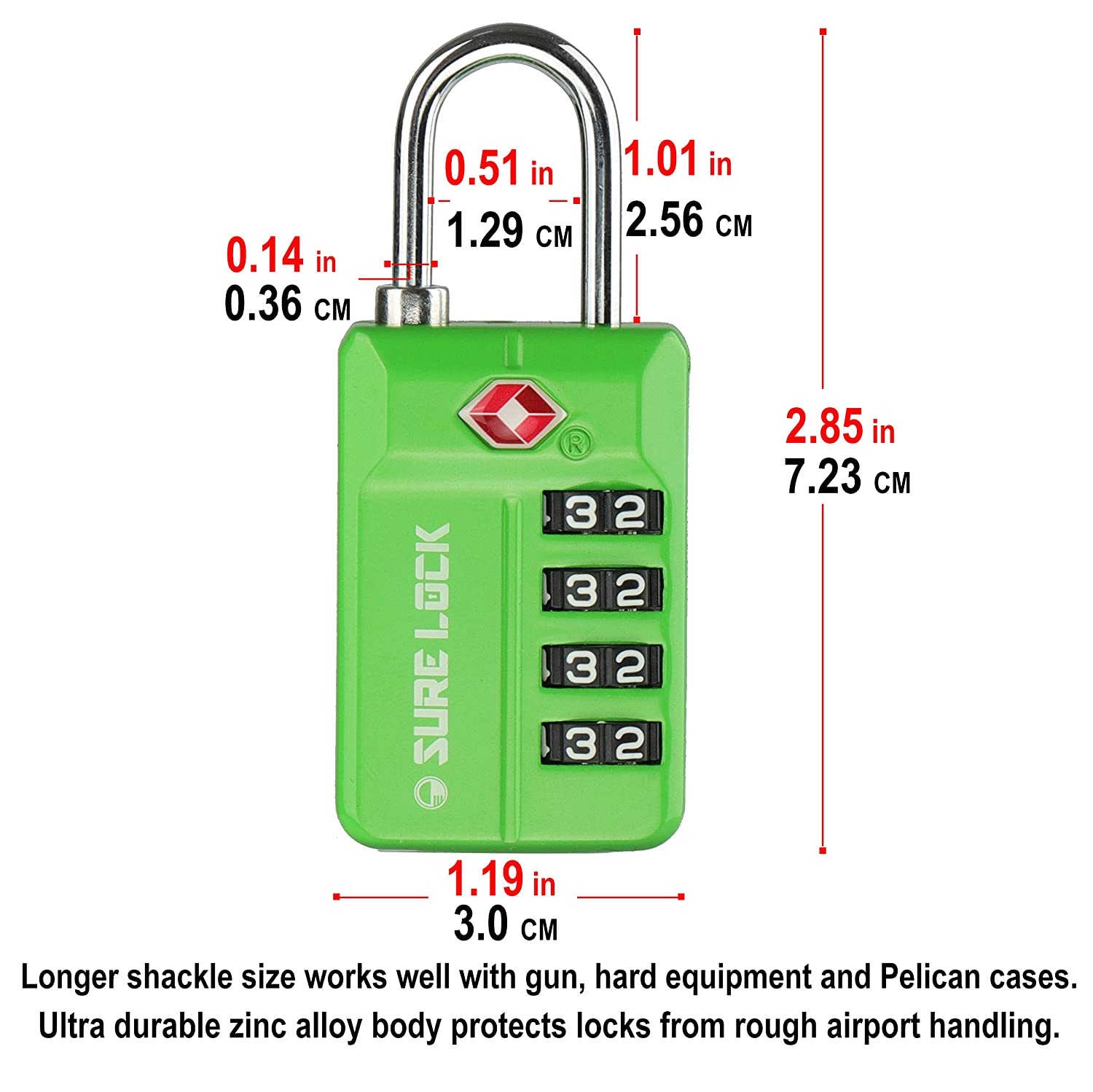 Inspection Indicator Easy Read Dials- 1 2 /& 4 Pack SURE LOCK TSA Compatible Travel Luggage Locks