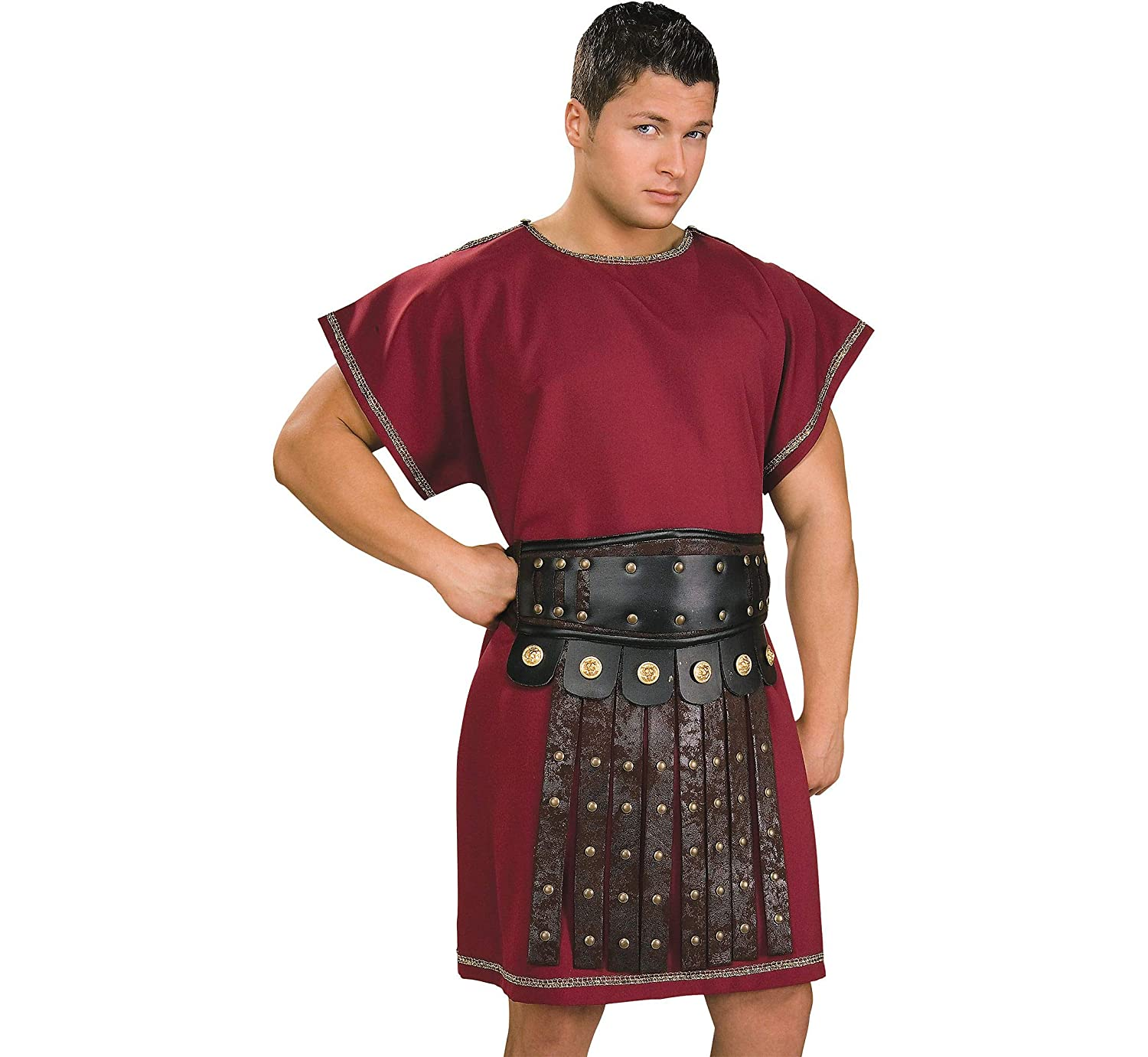 a758ea19b12 Burgundy Tunic Mens Fancy Dress Roman Greek Medieval Book Day Adults  Costume New