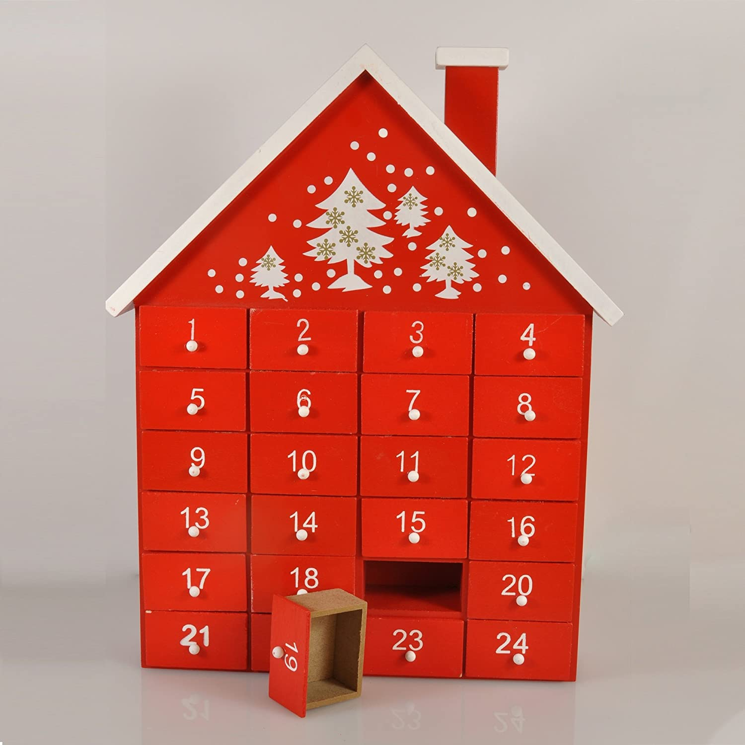 Gisela Graham Wooden Christmas Red Advent Calendar House With Individual Drawers By Gisela Graham Amazon Co Uk Kitchen Home