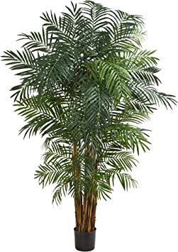 Nearly Natural 7' Areca Palm Artificial Silk Trees, Green