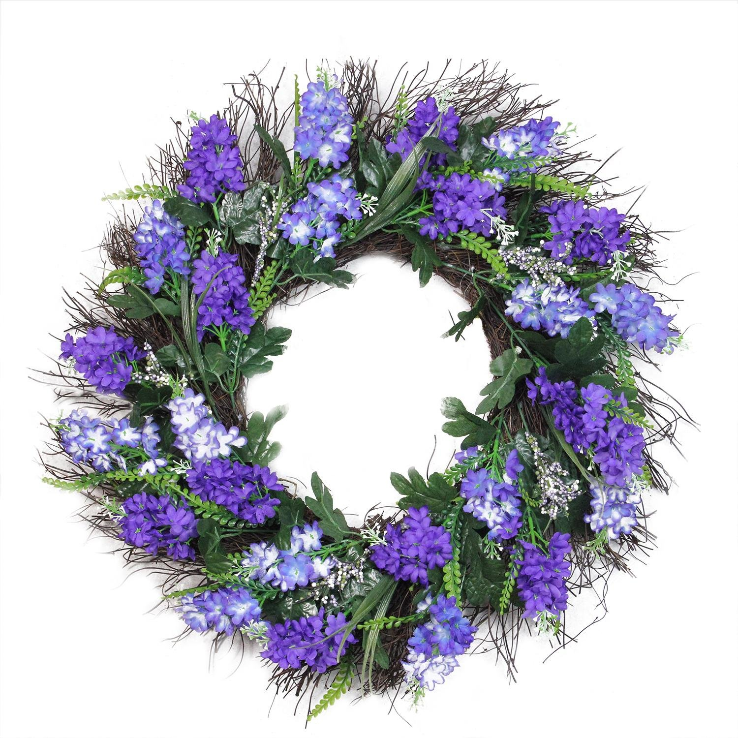 Northlight Shades of Artificial Lilac and Heather Spring Floral Wreath Unlit 22'' Purple