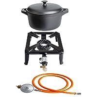 Gas-Brenner 1-flammig kleiner schwarz Burner Balkon Camping Picknick ✔ eckig ✔ Grillen mit Gas