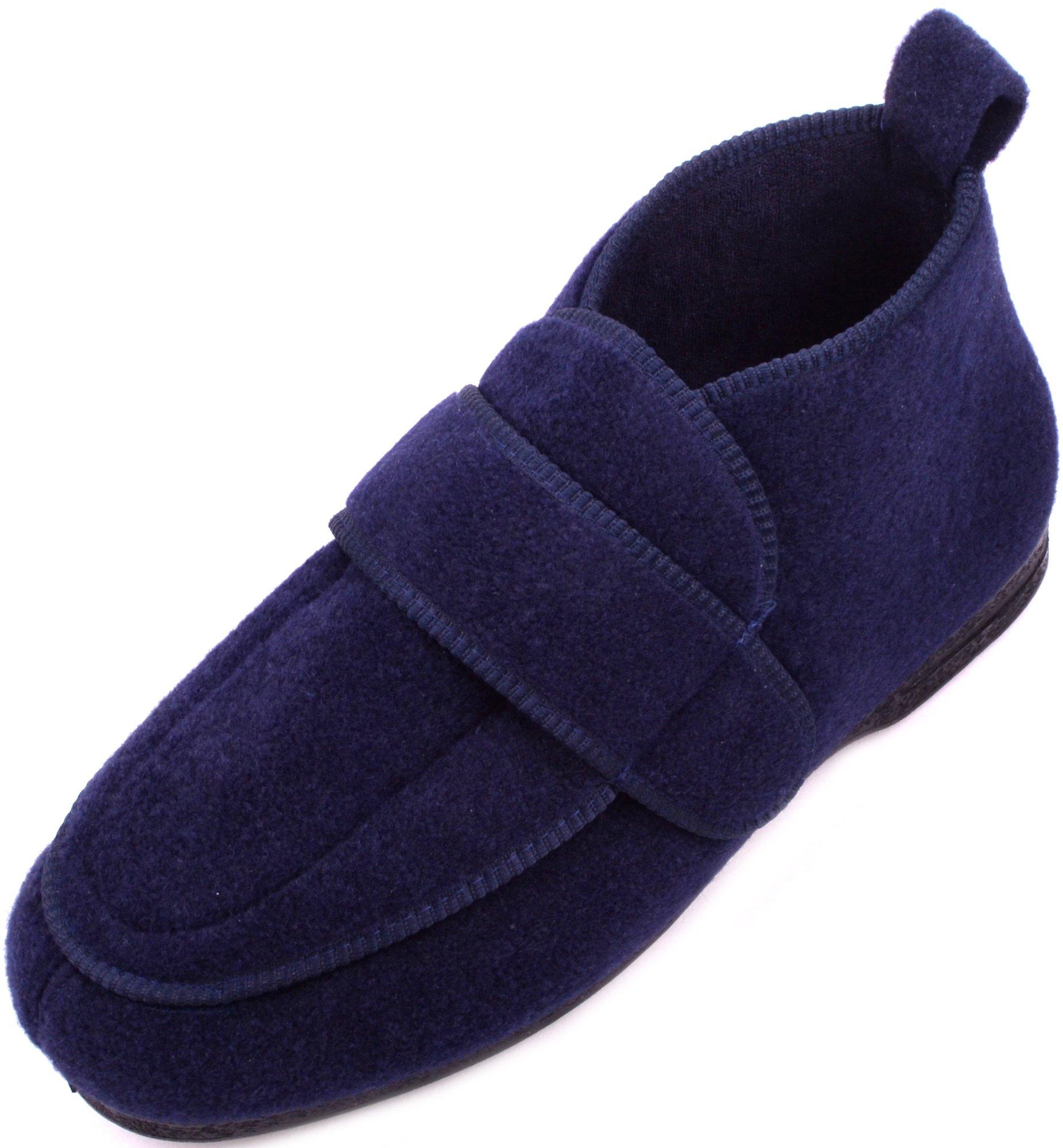 ABSOLUTE FOOTWEAR Mens Orthopaedic/EEE Wide Fit Adjustable Velcro Slipper Boot/Slippers - Navy - US 11