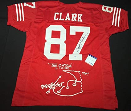 competitive price a8309 c0be5 Dwight Clark Signed San Francisco 49ers Football Jersey 'The ...