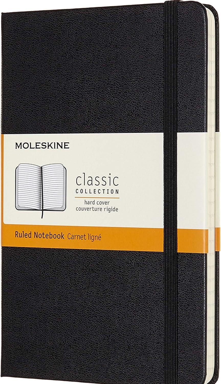 Moleskine - Cuaderno Clásico con Hojas Rayadas, Tapa Dura y Cierre Elástico, Color Negro, Tamaño Medio 11.5 x 18 cm, 208 Hojas